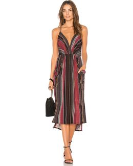 Midi Faux Wrap Dress In Port Multi