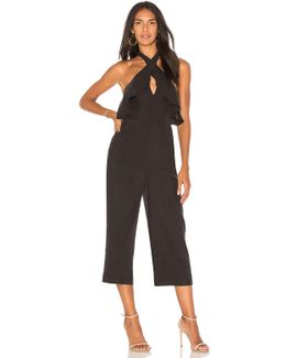 Ruffle Halter Jumpsuit In Black