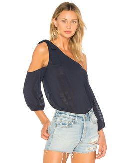 One Shoulder Knotted Top In Dark Navy