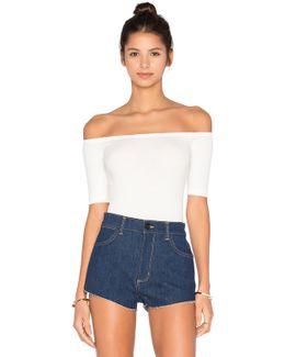 Short Sleeve Shoulderless Bodysuit