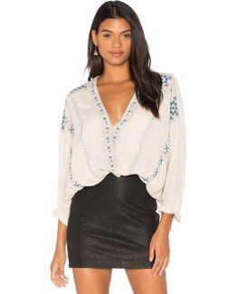 Crescent Moon Embroidered Blouse