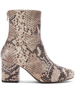 Cecile Leather Snake Print Block Heel Mid Calf Booties