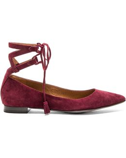 Sienna Ghillie Ankle Tie Pointed Toe Ballet Flats