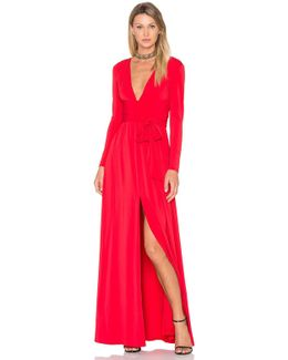 V Neck Wrap Tie Gown