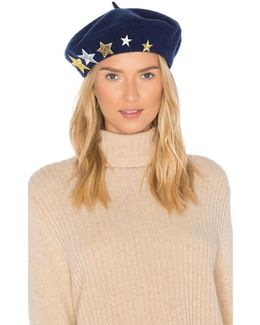 Wool Beret With Star Patches