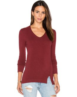 Side Slit V-Neck Cashmere-Blend Sweater