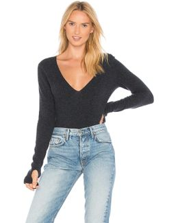 Deep V Sweater With Thumbholes