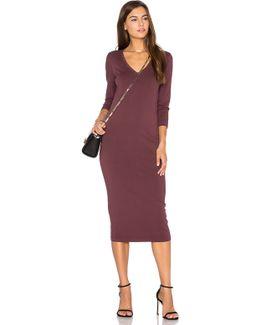 3/4 Sleeve V Neck Midi Dress