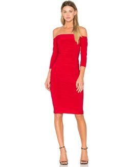 Off Shoulder Shirred Dress