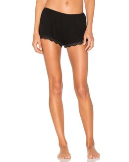 Feather Weight Rib Lace Trim Sleep Shorts