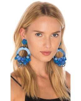Blue Large Floral Drop Earrings