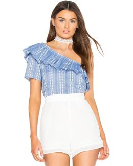 Chambray Jacquard Top