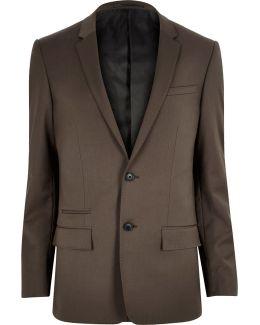 Dark Brown Skinny Suit Jacket