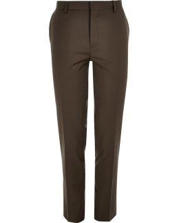 Dark Brown Skinny Suit Trousers