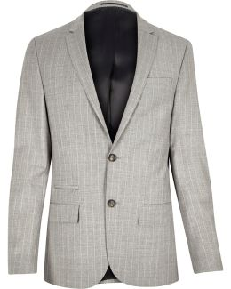 Grey Stripe Wool-blend Skinny Suit Jacket
