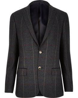 Dark Green Check Skinny Suit Jacket
