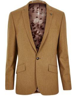 Camel Wool-blend Skinny Suit Jacket