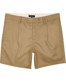 Tan Pleated Slim Fit Chino Shorts