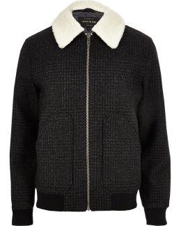 Grey Wool Check Borg Collar Jacket