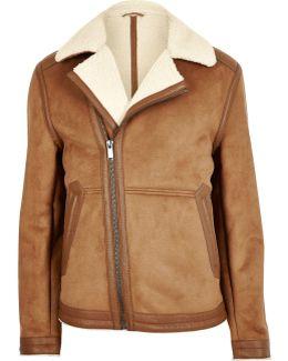 Light Brown Borg Lined Biker Jacket