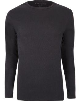 Dark Grey Ribbed Slim Fit Long Sleeve T-shirt