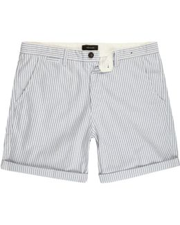 Blue Stripe Slim Fit Turn Up Shorts