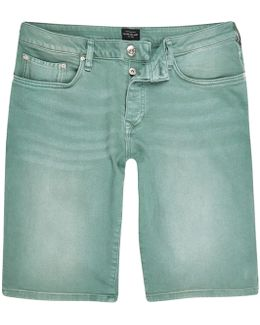 Green Wash Slim Fit Denim Shorts