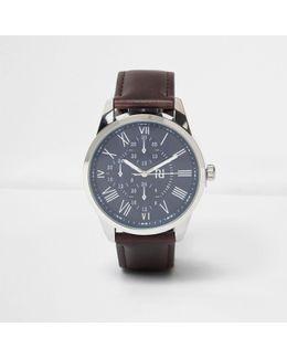Dark Brown Leather Look Strap Watch