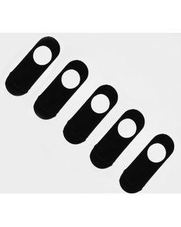 Black Invisible Liner Socks Five Pack