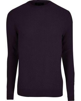 Purple Textured Knit Slim Fit Jumper