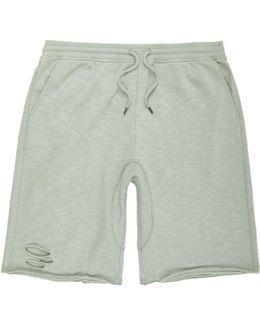 Mint Green Slub Ripped Shorts