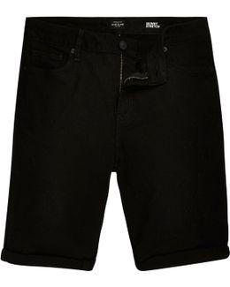 Black Skinny Fit Denim Shorts