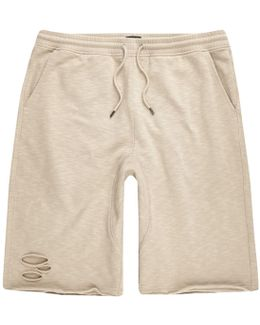 Stone Slub Ripped Shorts