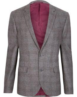 Grey Check Cropped Skinny Fit Blazer
