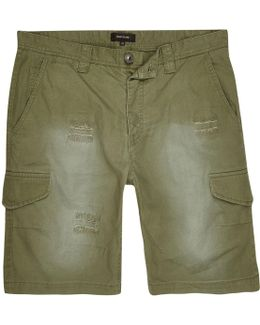 Dark Green Ripstop Cargo Shorts
