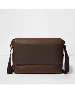Tan Brown Foldover Satchel Bag