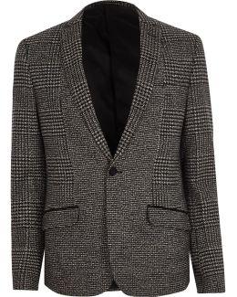 Grey Check Skinny Cropped Blazer