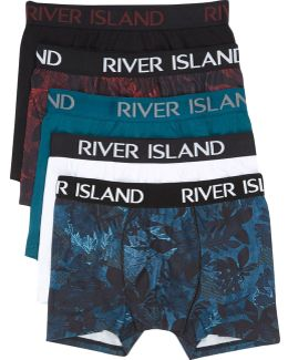 Dark Red Floral Print Trunks Multipack