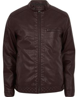 Dark Red Faux Leather Racer Jacket