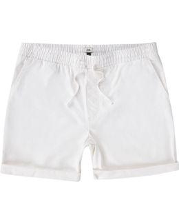White Shirred Waist Pull-on Shorts