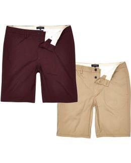 Brown And Burgundy Chino Shorts Pack