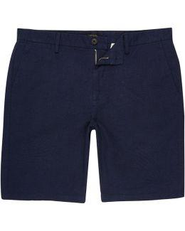 Blue Linen Slim Fit Chino Shorts