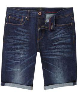 Dark Blue Wash Slim Fit Denim Shorts