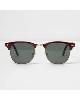 Brown Tortoiseshell Half Frame Sunglasses