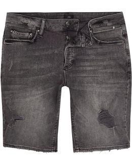 Washed Black Distressed Skinny Denim Shorts