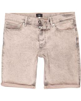Peach Acid Wash Skinny Denim Shorts
