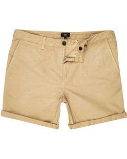 Light Brown Rolled Hem Chino Shorts