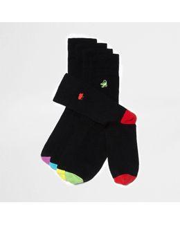 Black Animal Icon Embroidery Socks Multipack