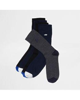Blue Animal Embroidery Socks Multipack
