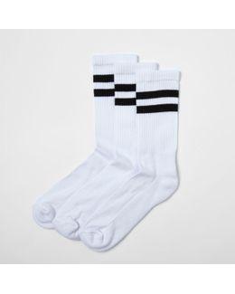 White Black Stripe Tube Socks Multipack